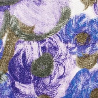 コットン×フラワー(ラベンダー&オリエンタルブルー)×サテン_イタリア製 サムネイル1