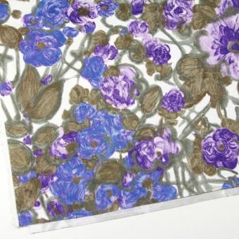 コットン×フラワー(ラベンダー&オリエンタルブルー)×サテン_イタリア製 サムネイル2