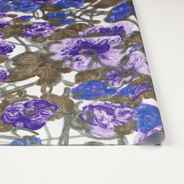 コットン×フラワー(ラベンダー&オリエンタルブルー)×サテン_イタリア製 イメージ3
