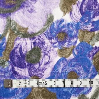 コットン×フラワー(ラベンダー&オリエンタルブルー)×サテン_イタリア製 サムネイル4