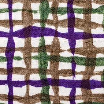 コットン×幾何学模様(パープル&グリーン、ブラウン)×サテン_イタリア製