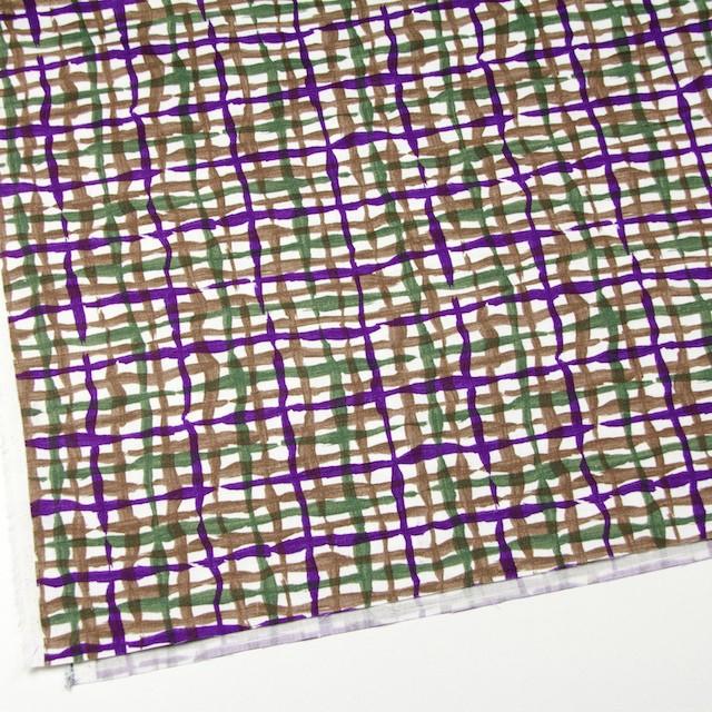 コットン×幾何学模様(パープル&グリーン、ブラウン)×サテン_イタリア製 イメージ2