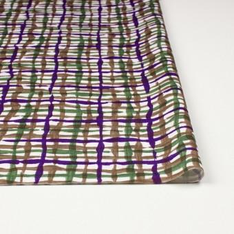 コットン×幾何学模様(パープル&グリーン、ブラウン)×サテン_イタリア製 サムネイル3