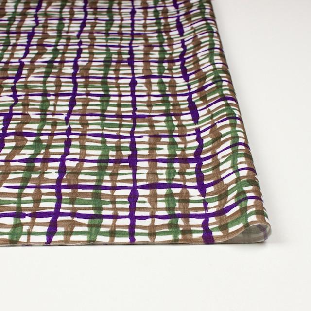 コットン×幾何学模様(パープル&グリーン、ブラウン)×サテン_イタリア製 イメージ3
