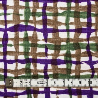 コットン×幾何学模様(パープル&グリーン、ブラウン)×サテン_イタリア製 サムネイル4