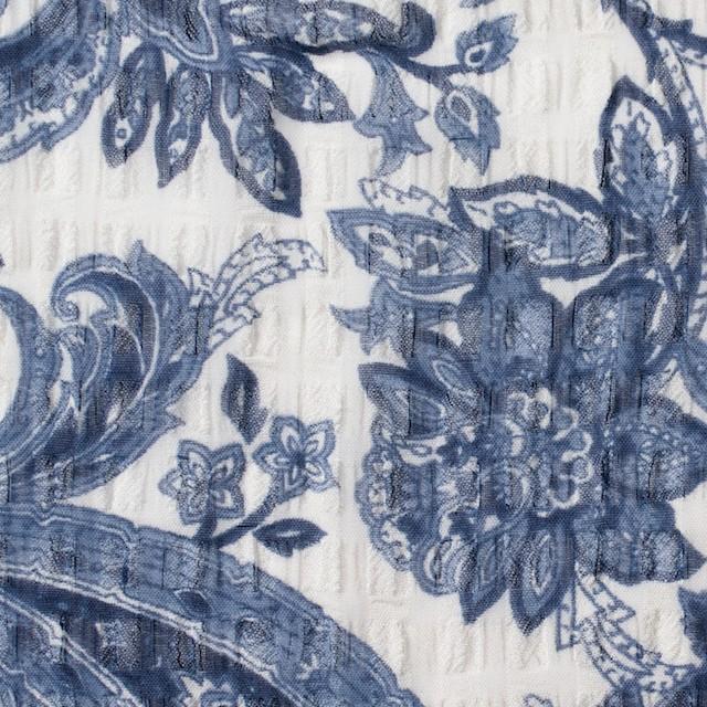 ポリエステル×ペイズリー(ブルー)×シフォン・ジョーゼット_全2色 イメージ1