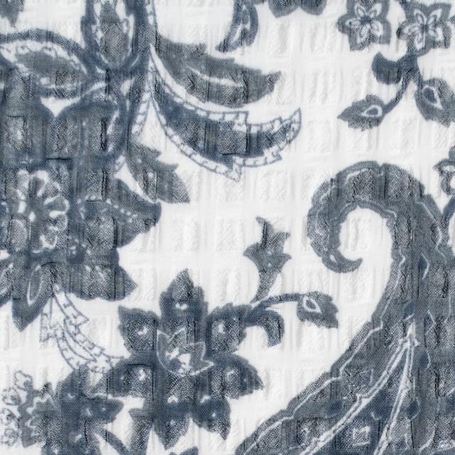 ポリエステル×ペイズリー(チャコールブルー)×シフォン・ジョーゼット_全2色 イメージ1