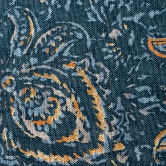 コットン&リネン×更紗(オールドブルー)×シーチング_全4色 サムネイル1