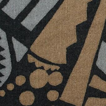コットン×幾何学模様(モカ&グレー)×ガーゼ_全3色 サムネイル1