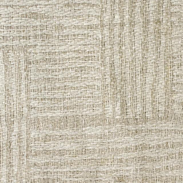 リネン×幾何学模様(キナリ&グレイッシュベージュ)×ジャガード_リトアニア製 イメージ1