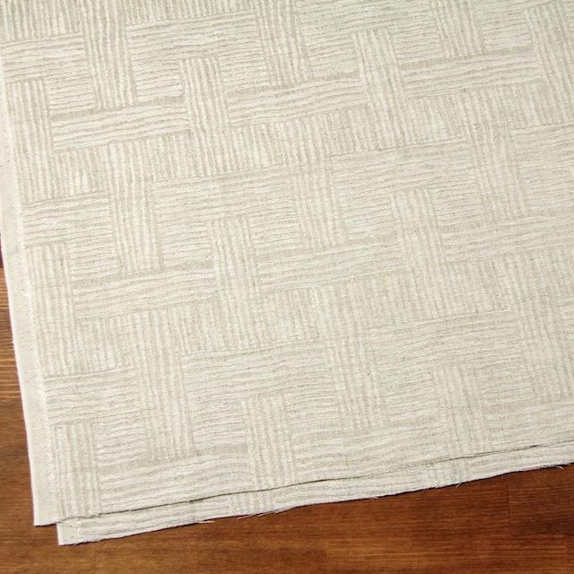 リネン×幾何学模様(キナリ&グレイッシュベージュ)×ジャガード_リトアニア製 イメージ2