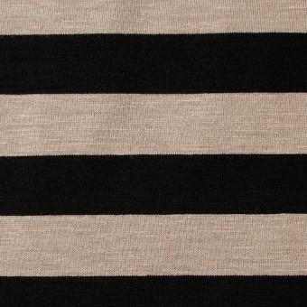 コットン×ボーダー(オークルベージュ&ブラック)×天竺ニット_全3色