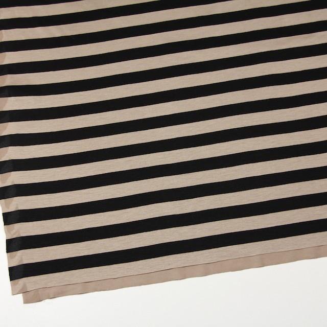 コットン×ボーダー(オークルベージュ&ブラック)×天竺ニット_全3色 イメージ2