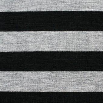 コットン×ボーダー(グレー&ブラック)×天竺ニット_全3色