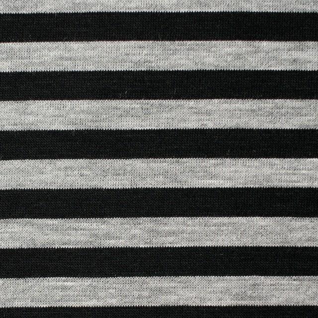 コットン×ボーダー(グレー&ブラック)×天竺ニット イメージ1
