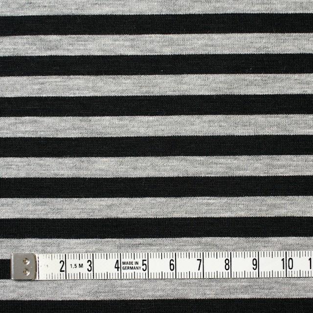コットン×ボーダー(グレー&ブラック)×天竺ニット イメージ4