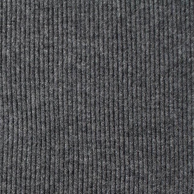 コットン×無地(チャコールグレー)×丸編みリブニット_全3色 イメージ1