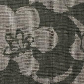 コットン×フラワー(サファリグリーン)×ガーゼ風通織 サムネイル1