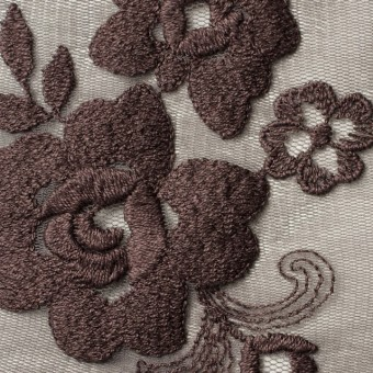 ナイロン&ポリエステル×フラワー(ココア)×チュール刺繍_全2色 サムネイル1