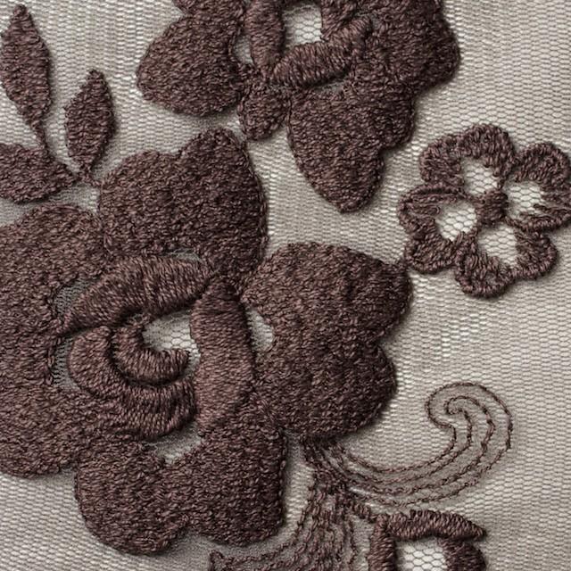 ナイロン&ポリエステル×フラワー(ココア)×チュール刺繍_全2色 イメージ1