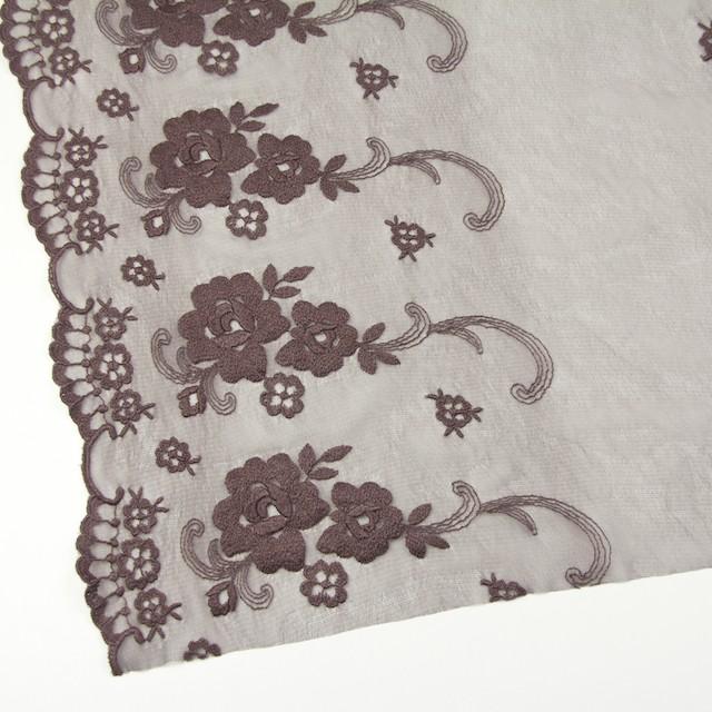 ナイロン&ポリエステル×フラワー(ココア)×チュール刺繍_全2色 イメージ2