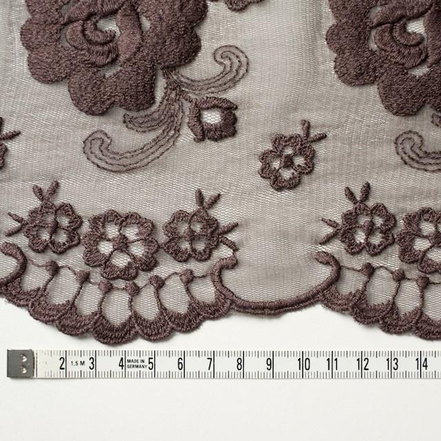 ナイロン&ポリエステル×フラワー(ココア)×チュール刺繍_全2色 イメージ3
