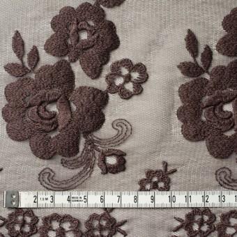 ナイロン&ポリエステル×フラワー(ココア)×チュール刺繍_全2色 サムネイル4