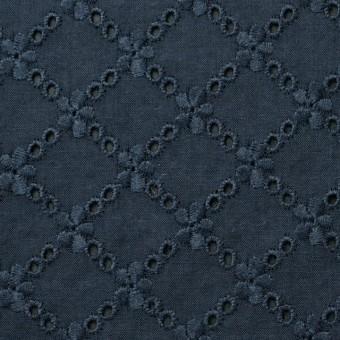 コットン×フラワー(アイアンネイビー)×ローン刺繍 サムネイル1