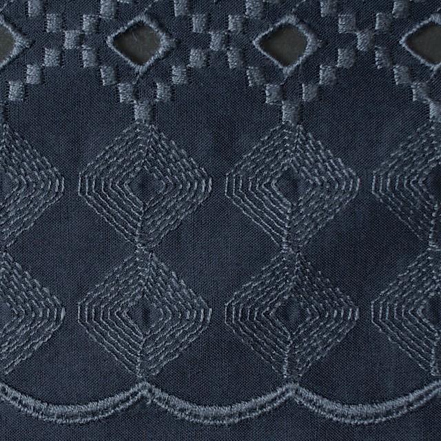 コットン×幾何学模様(ネイビー)×ローン刺繍_全3色 イメージ1