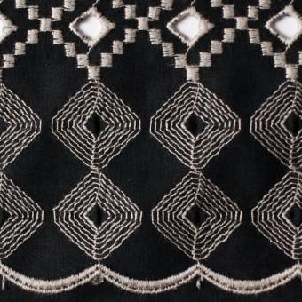 コットン×幾何学模様(ブラック)×ローン刺繍_全3色