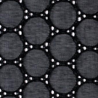 シルク×輪模様(ブラック)×ジョーゼット刺繍 サムネイル1