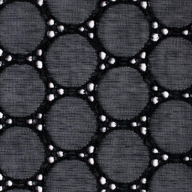 シルク×輪模様(ブラック)×ジョーゼット刺繍 イメージ1