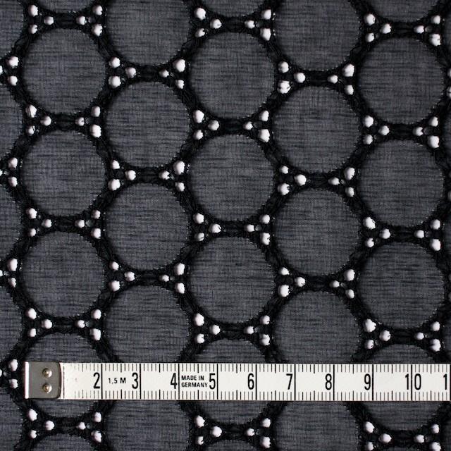 シルク×輪模様(ブラック)×ジョーゼット刺繍 イメージ4