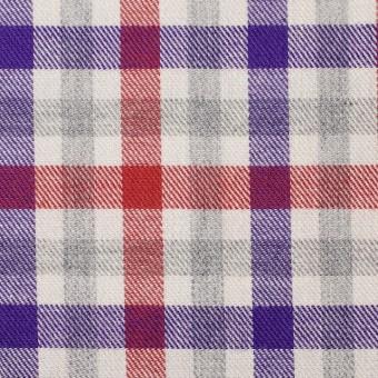 コットン×チェック(レッド&パープル)×ビエラ_全3色 サムネイル1
