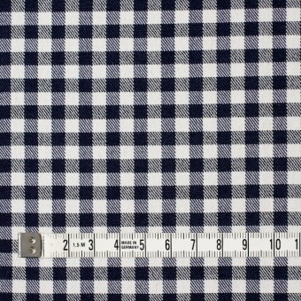 コットン&ポリエステル混×チェック(オフホワイト&ネイビー)×サージストレッチ_全2色 サムネイル4