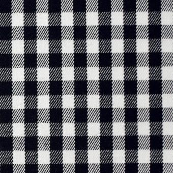 コットン&ポリウレタン×チェック(ホワイト&ブラック)×サージストレッチ サムネイル1