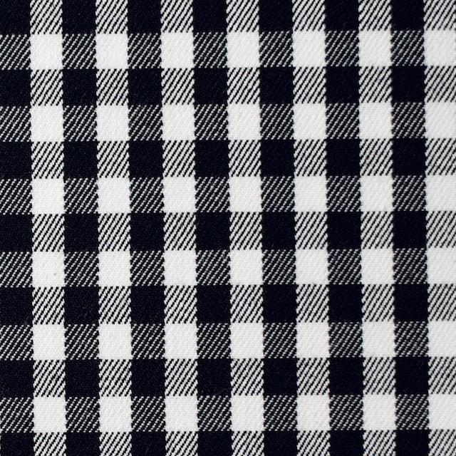 コットン&ポリウレタン×チェック(ホワイト&ブラック)×サージストレッチ イメージ1