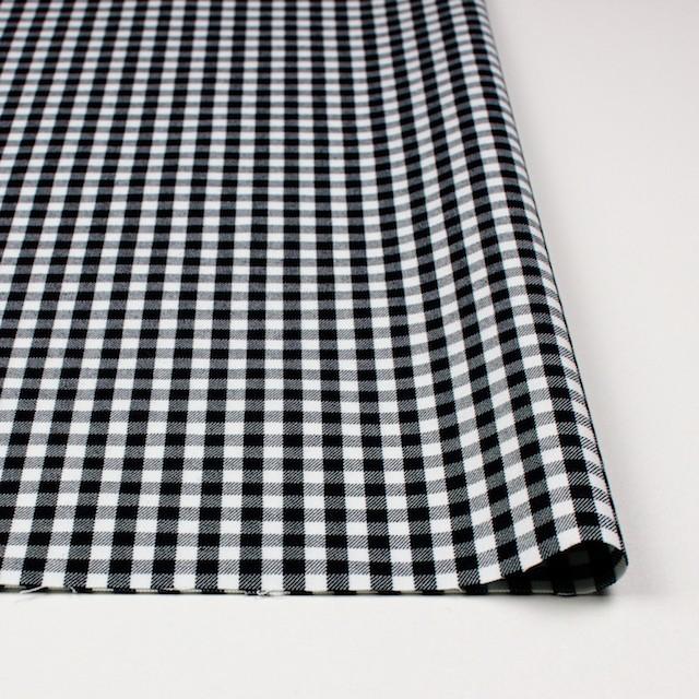 コットン&ポリウレタン×チェック(ホワイト&ブラック)×サージストレッチ イメージ3