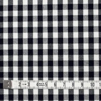 コットン&ポリウレタン×チェック(ホワイト&ブラック)×サージストレッチ サムネイル4