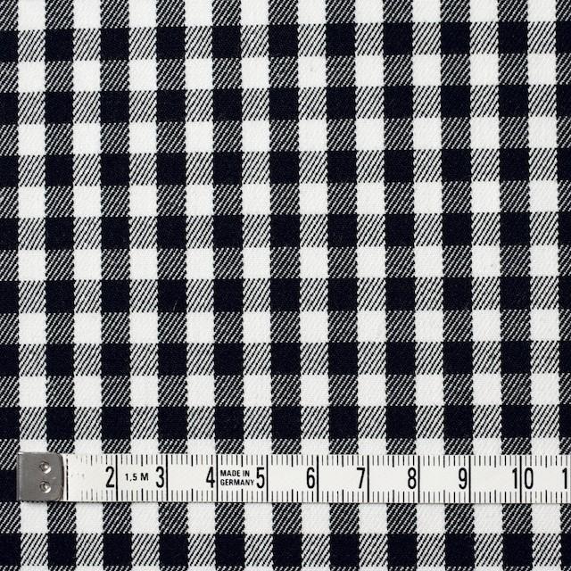 コットン&ポリウレタン×チェック(ホワイト&ブラック)×サージストレッチ イメージ4