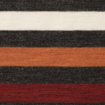 ウール&アクリル×ボーダー(オレンジ&レッド)×フライスニット_全3色 サムネイル1