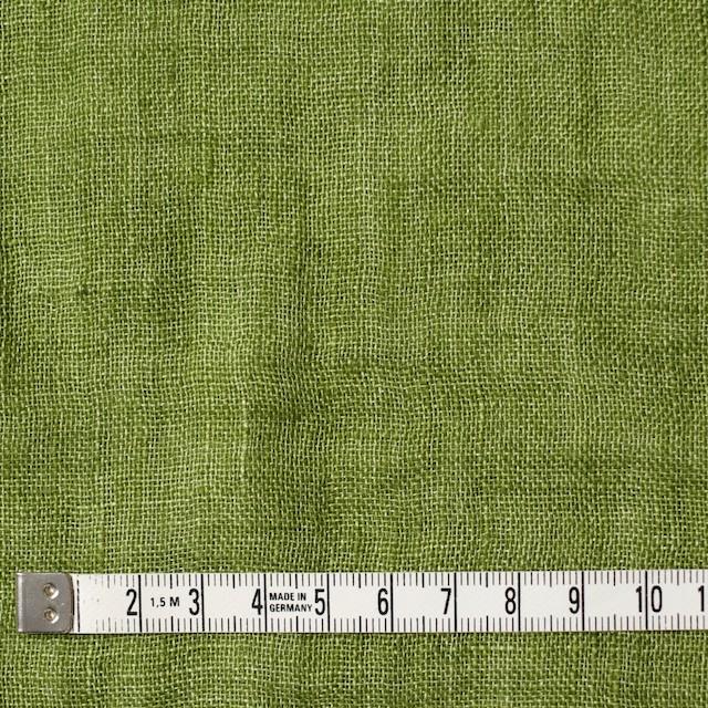 リネン×無地(グリーン)×ガーゼ_全5色_イタリア製 イメージ4