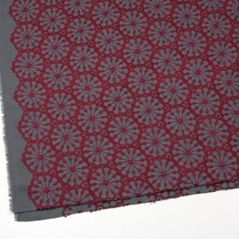 ポリエステル&ウール×フラワー(エンジ)×サージ刺繍 サムネイル2