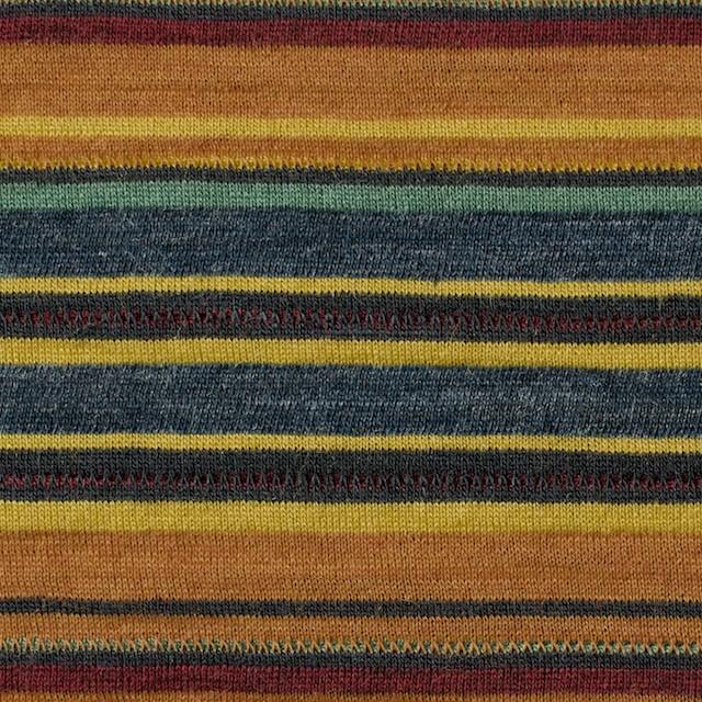 ウール&アクリル×ボーダー(オレンジ&ブルーグレー)×天竺ニット_全2色 イメージ1