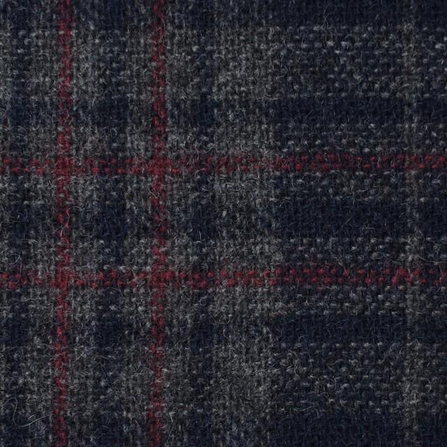 ウール&ポリエステル混×チェック(ネイビー&グレー)×Wフェイスツイード イメージ1