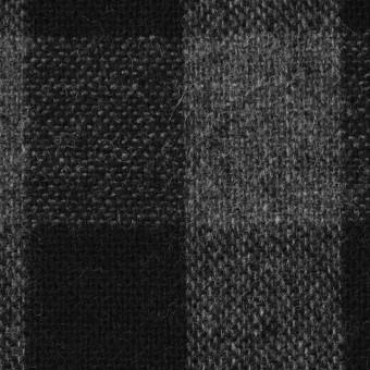 ウール&ポリエステル混×チェック(グレー&ブラック)×Wフェイスツイード サムネイル1