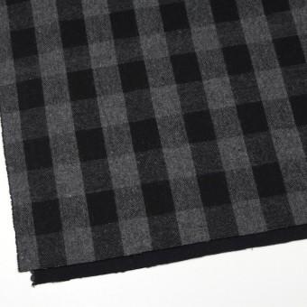 ウール&ポリエステル混×チェック(グレー&ブラック)×Wフェイスツイード サムネイル2