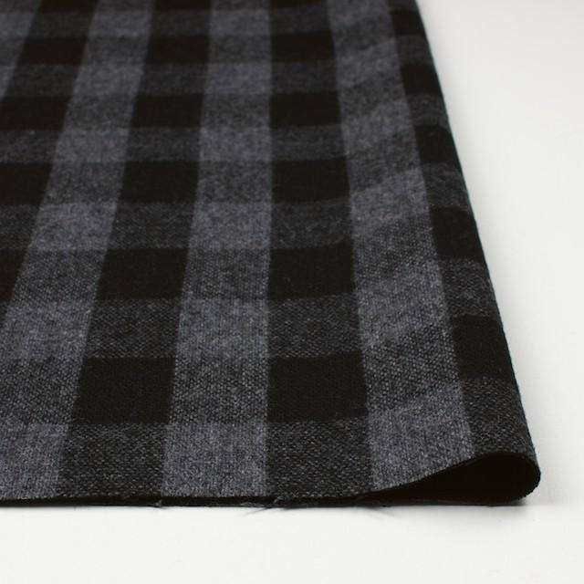 ウール&ポリエステル混×チェック(グレー&ブラック)×Wフェイスツイード イメージ3