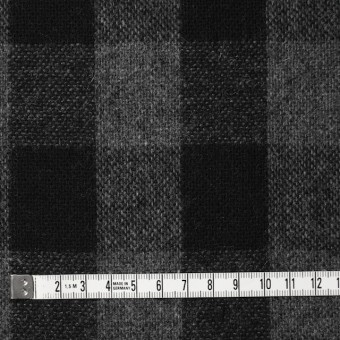 ウール&ポリエステル混×チェック(グレー&ブラック)×Wフェイスツイード サムネイル4