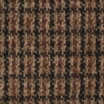 ウール&アクリル×チェック(ブラウン)×ジャガードニット サムネイル1